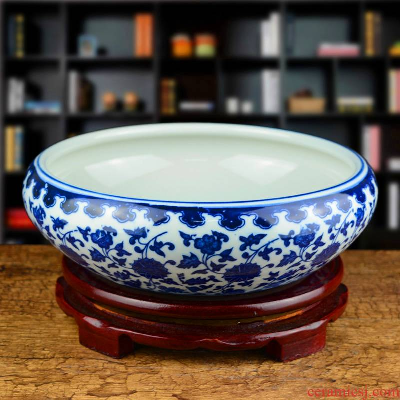 Blue and white porcelain of jingdezhen ceramics antique pen XiCha wash water shallow large turtle cylinder water lily cylinder ashtray furnishing articles