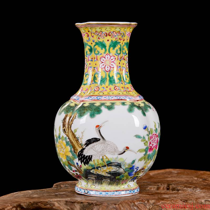 Jingdezhen ceramic vase high - end antique yong zheng famille rose double crane bottle home decoration craft flower furnishing articles
