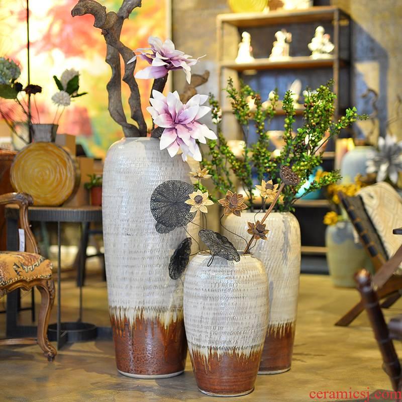 Modern European ceramic vase color glaze up landing vase sitting room hotel villa place big vase restoring ancient ways