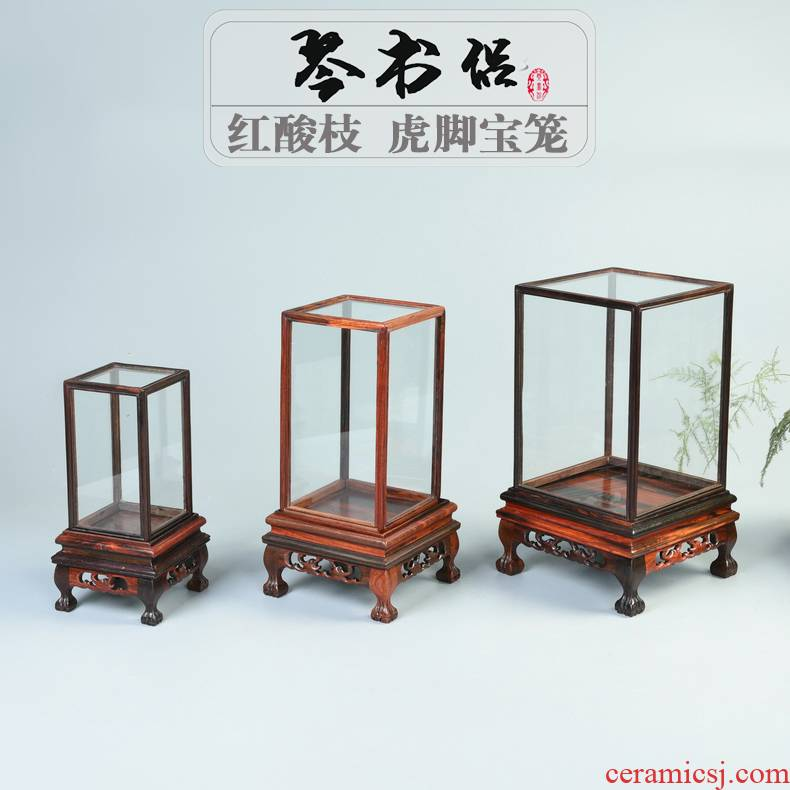 Antique handicraft mahogany base living flower glass cover figure of Buddha treasure cage base display box dust cover