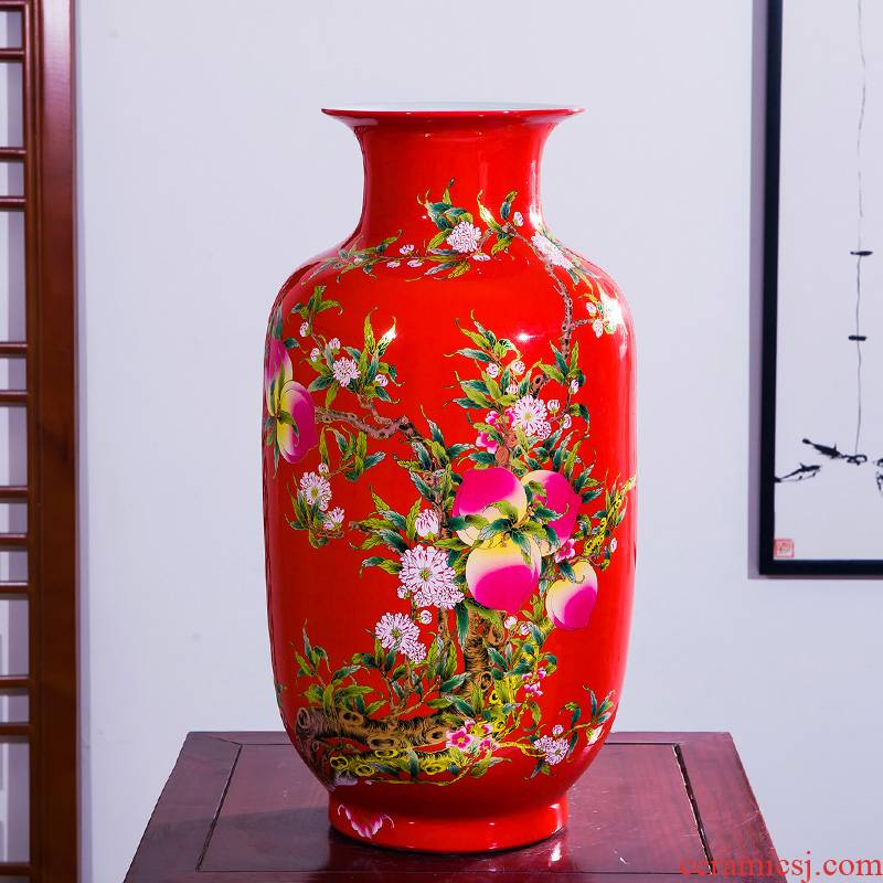 Aj45 jingdezhen ceramics China red large vases, furnishing articles home sitting room adornment rich ancient frame handicraft