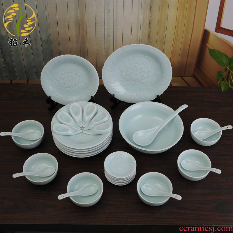 Classical Chinese style hotel ceramic tableware celadon bowl spoon, plate plate combination housewarming wedding gift set