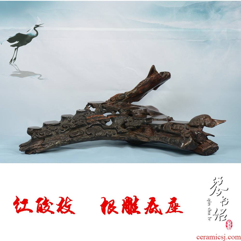 Pianology picking red mahogany acid branches off the root carving handicraft furnishing articles stone excavated wood base 15 ceramic tea pot - porcelain