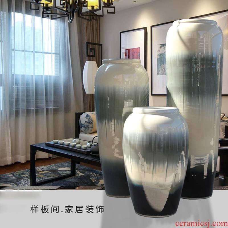Simulation flower glaze ceramic vase landing dried flowers of modern new Chinese style villa hotel furnishing articles flower arranging variable sitting room