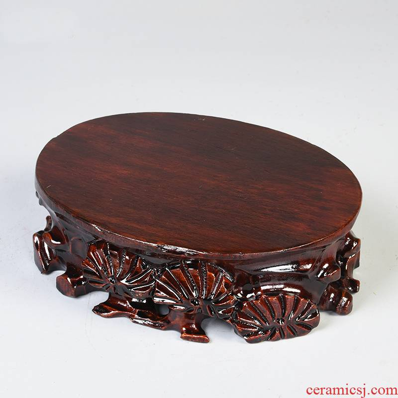 Pianology picking taishan stone stone base miniascape of oval vase base solid wood can be excavated wooden statute tap