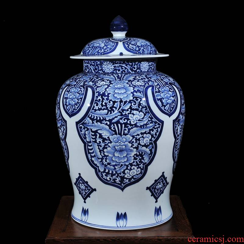 Copy a blue - and - white, yuan and Ming LuLianSheng jingdezhen ceramics with cover general pot vase process ACTS the role of TV ark, furnishing articles