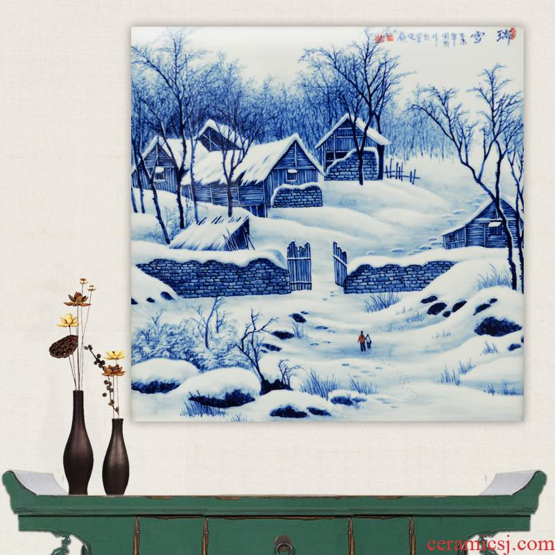 Jingdezhen ceramics hand - made snow snow of blue and white porcelain porcelain masterpieces by famous writers partition the painter in the sitting room the process