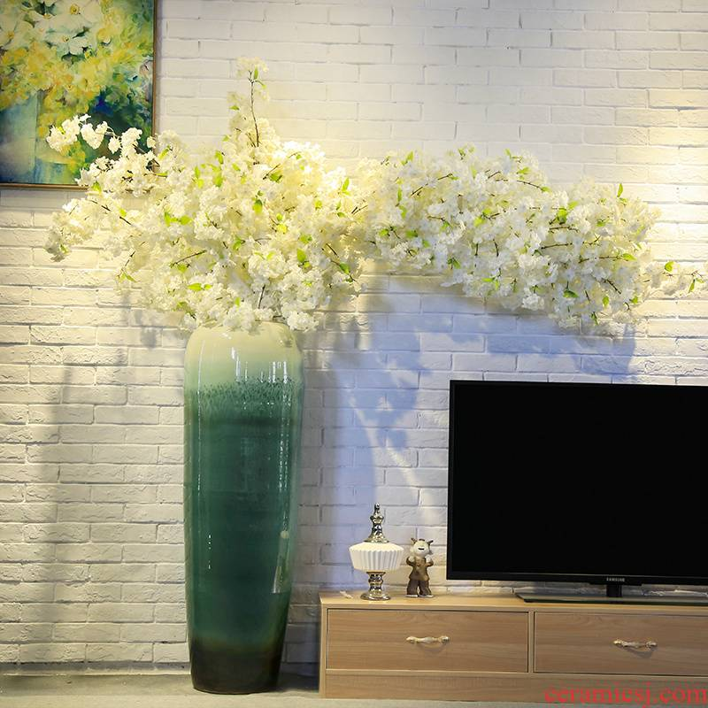 Ceramic flower furnishing articles club villa large landing simulation flower vase set decoration in the sitting room is decorated