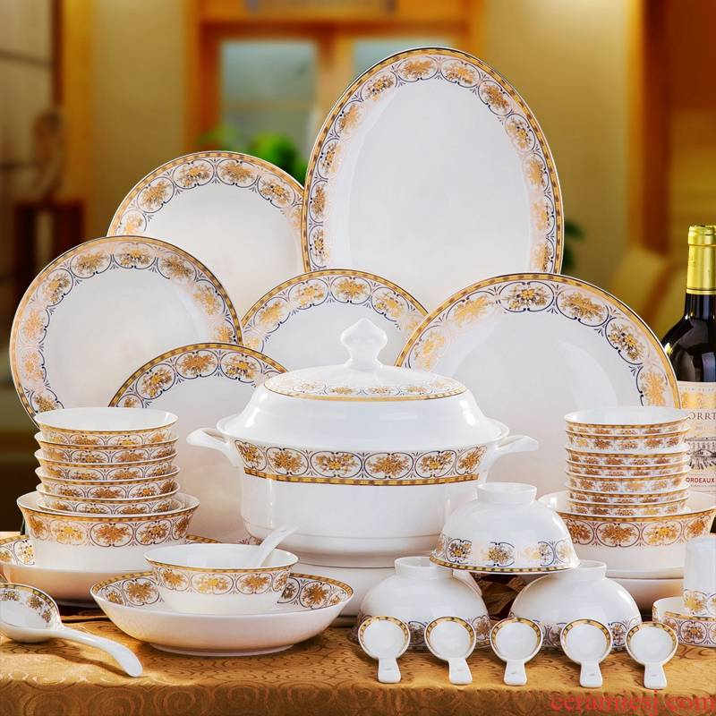 Jingdezhen dishes home ipads porcelain tableware dishes chopsticks Chinese ceramics contracted to use housewarming gift set