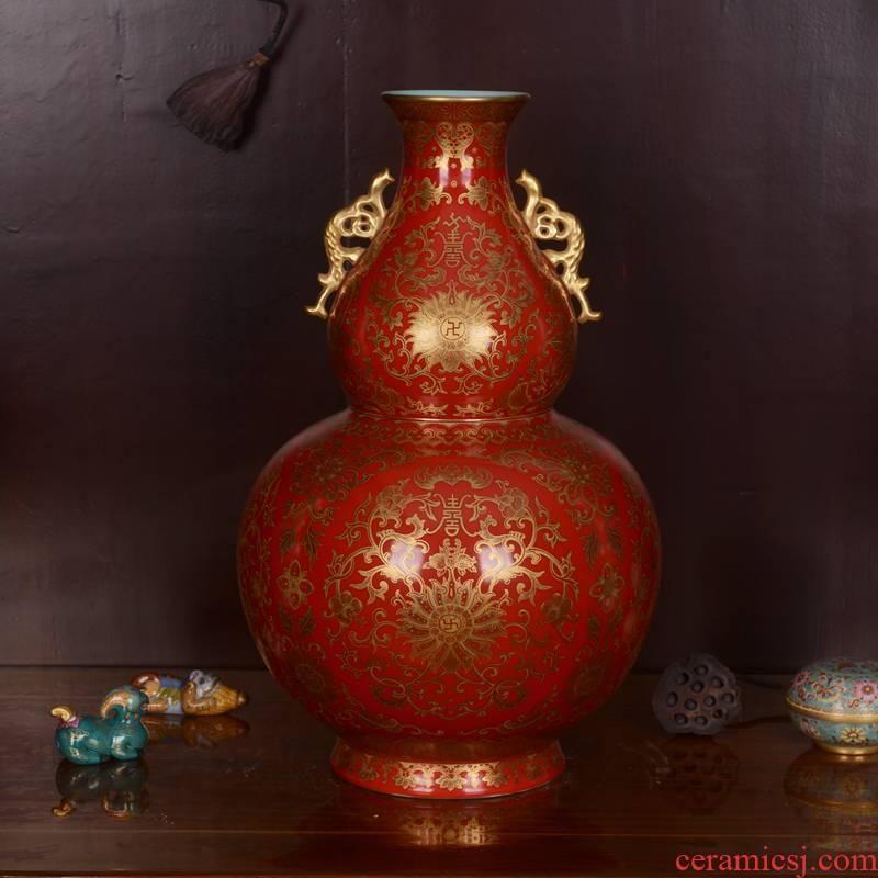 Jingdezhen ceramics imitation the qing qianlong hand made red to paint branch grain ears gourd bottle handicraft furnishing articles