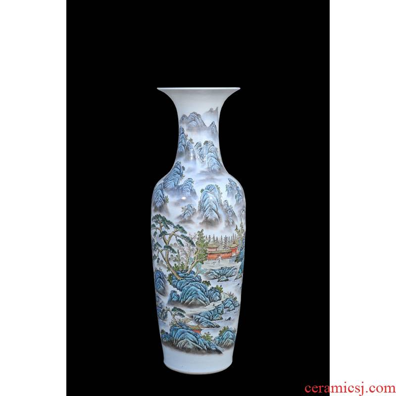 Jingdezhen ceramic vases, antique hand - made landing pastel landscape of large vase household adornment furnishing articles