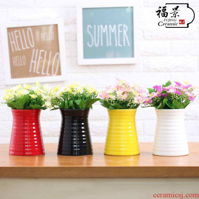 Small handicraft floret bottle corrugated receptacle ceramics modern home decoration vase in furnishing articles furnishing articles set