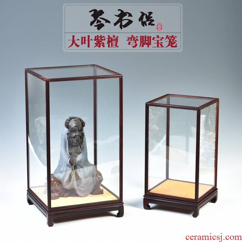 Red cover figure of Buddha carved rosewood antique crafts glass stone base treasure cage show the dust cover can be customized