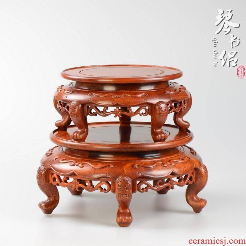 Rosewood carving of Buddha antique vase circular base tank bonsai flower wearing jade stone base
