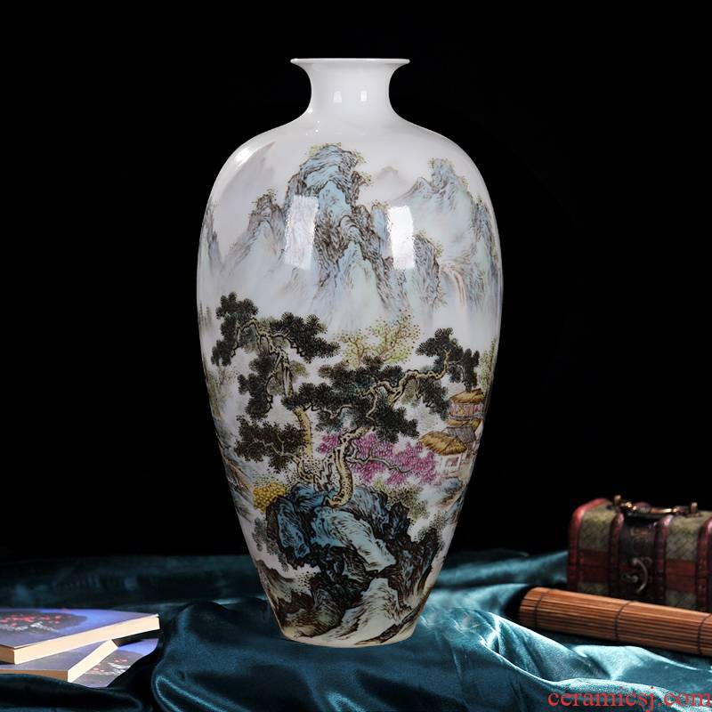 Jingdezhen ceramic vase master high - end antique hand - made pastel pomegranate bottle home decoration craft collection furnishing articles