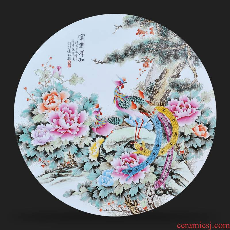 Jingdezhen ceramics Feng Huiying hand - made prosperous and peaceful porcelain plate painter adornment picture hanging in the sitting room is placed