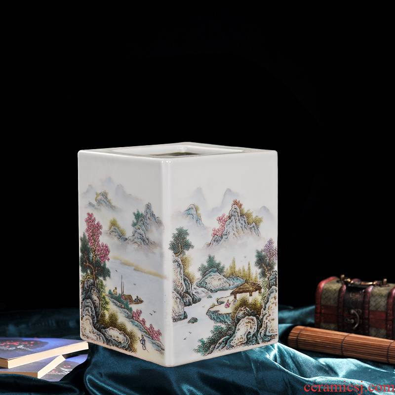 Jingdezhen ceramic vase high - end antique landscape family edged brush pot flower home decoration crafts