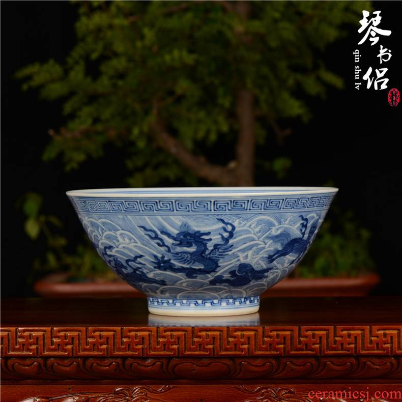 Home furnishing articles pianology picking hand antique art of jingdezhen porcelain vases guangxu up with blue sea, green - splashed bowls
