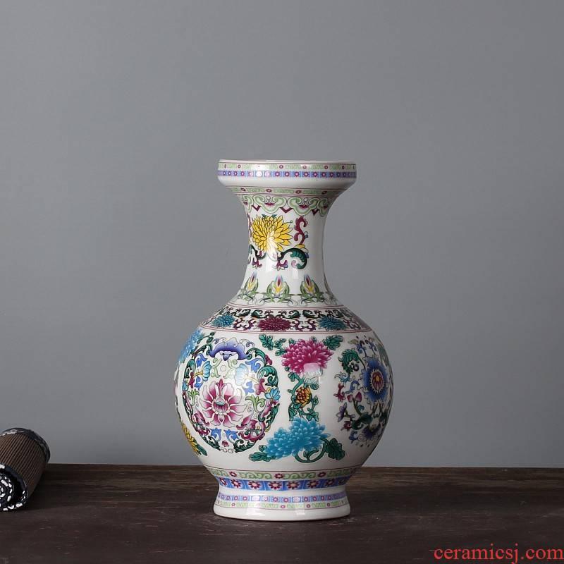 Jingdezhen ceramics vase colored enamel vase household adornment style living room mesa furnishing articles