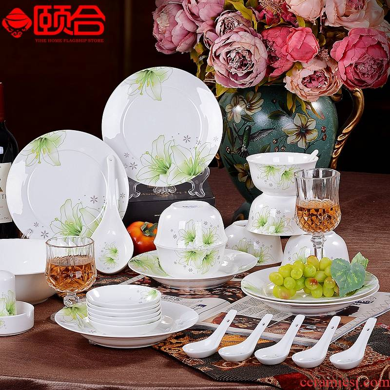 Lily 28 skull porcelain Chinese style household practical microwave dishes spoon plate combination wedding gift set
