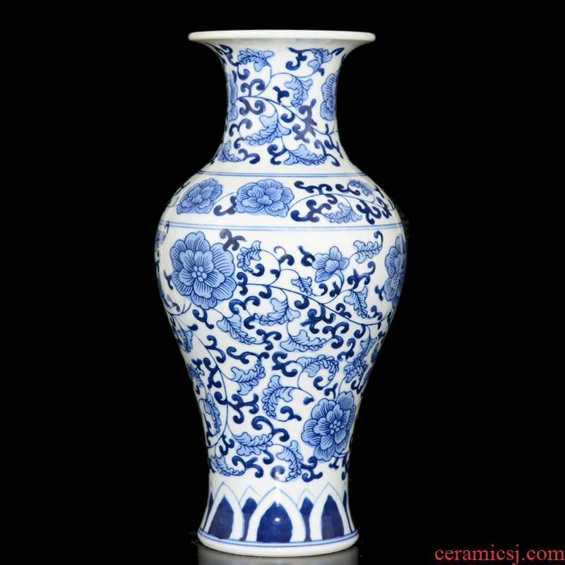 Jingdezhen ceramic manual hand - made under glaze blue and white porcelain vase color archaize sitting room small handicraft rich ancient frame furnishing articles