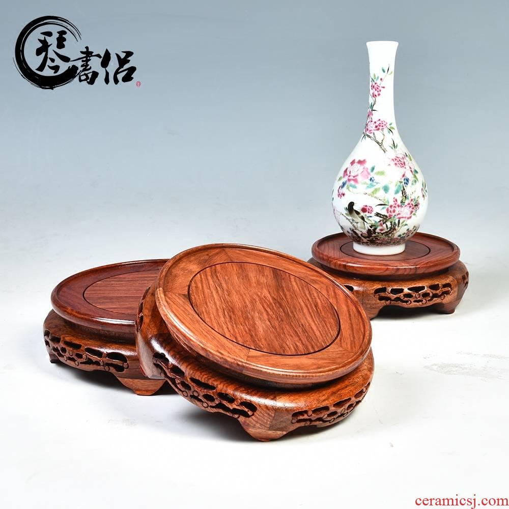 Pianology picking rosewood mahogany base vase base rounded it real wood flowerpot wooden furnishing articles base bracket