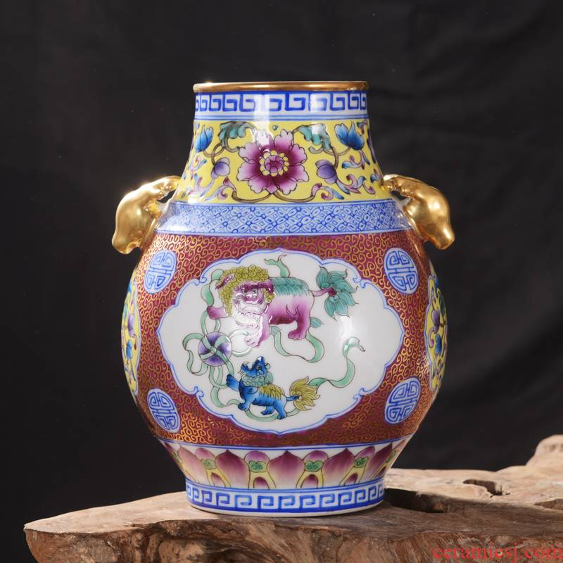 Jingdezhen ceramics high - end antique qianlong gold f tube vase household adornment mei bottle process furnishing articles in the living room