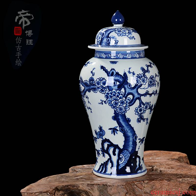 Package mail jingdezhen ceramic vase furnishing articles antique hand - made general blue and white porcelain jar of storage tank sitting room arts and crafts