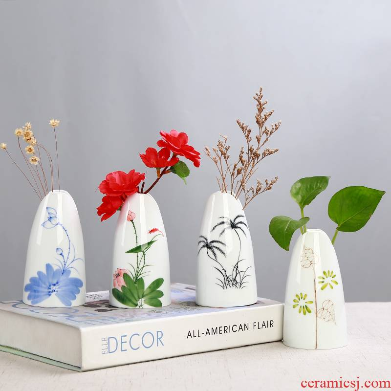 All over the sky star, hand - made vases furnishing articles sitting room white porcelain ceramic hydroponic flower implement small pure and fresh and dried flowers, flower arrangement contracted and I