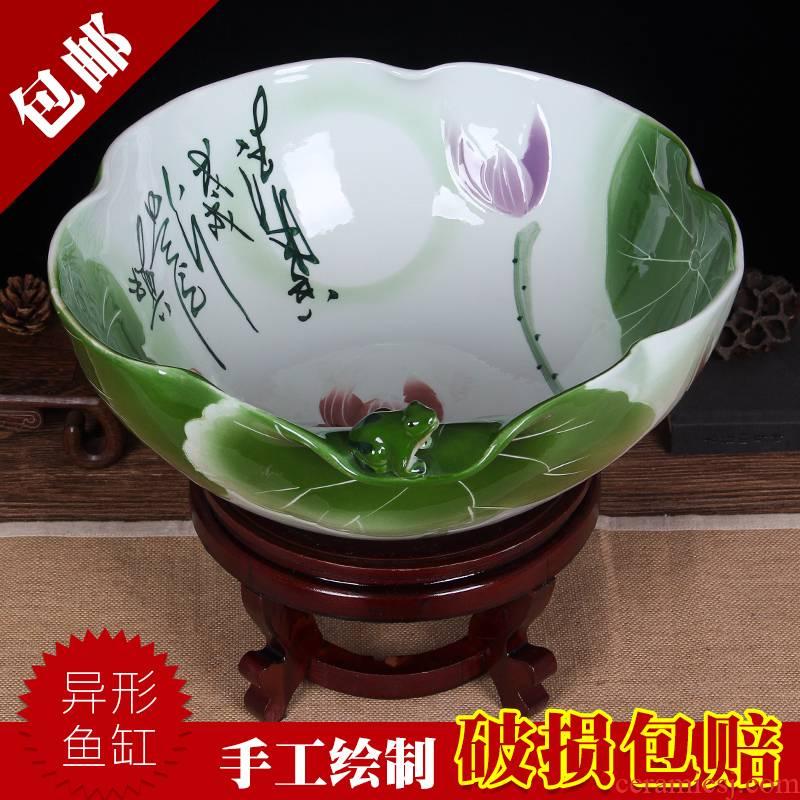 Art soul jingdezhen large aquariums famille rose porcelain loop aerobic filter water goldfish GangPen town house