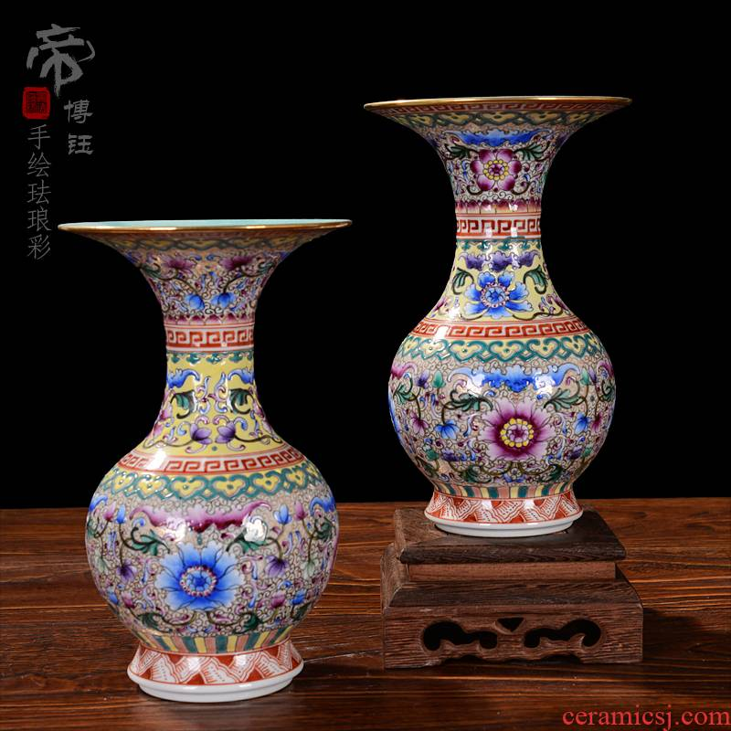 Jingdezhen ceramic vases, flower implement furnishing articles of high - grade checking antique colored enamel bottle home decoration antique furniture