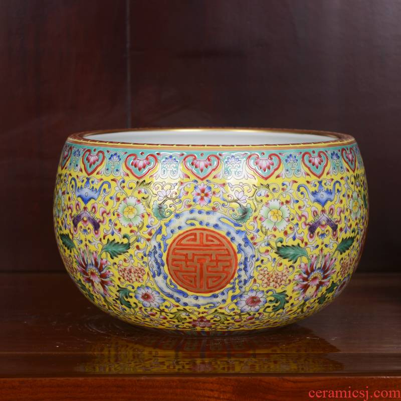 Jingdezhen ceramics high - end antique qianlong bound branch lotus powder enamel vase household adornment process sitting room furnishing articles