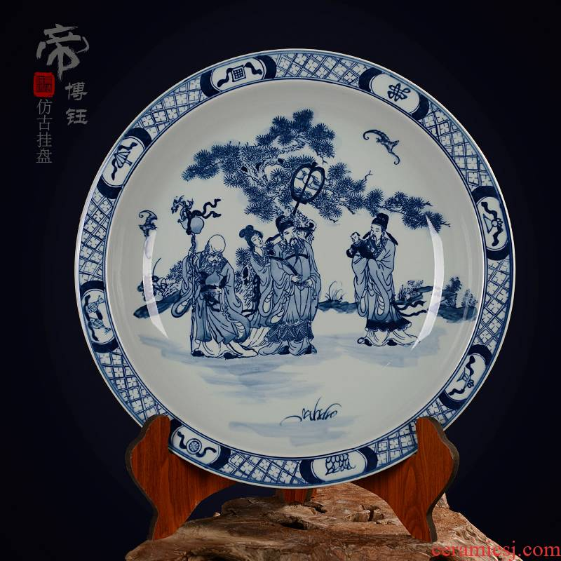 Jingdezhen ceramic decoration plate sit plate hanging dish hand - made antique blue - and - white porcelain handicraft furnishing articles fu lu shou characters