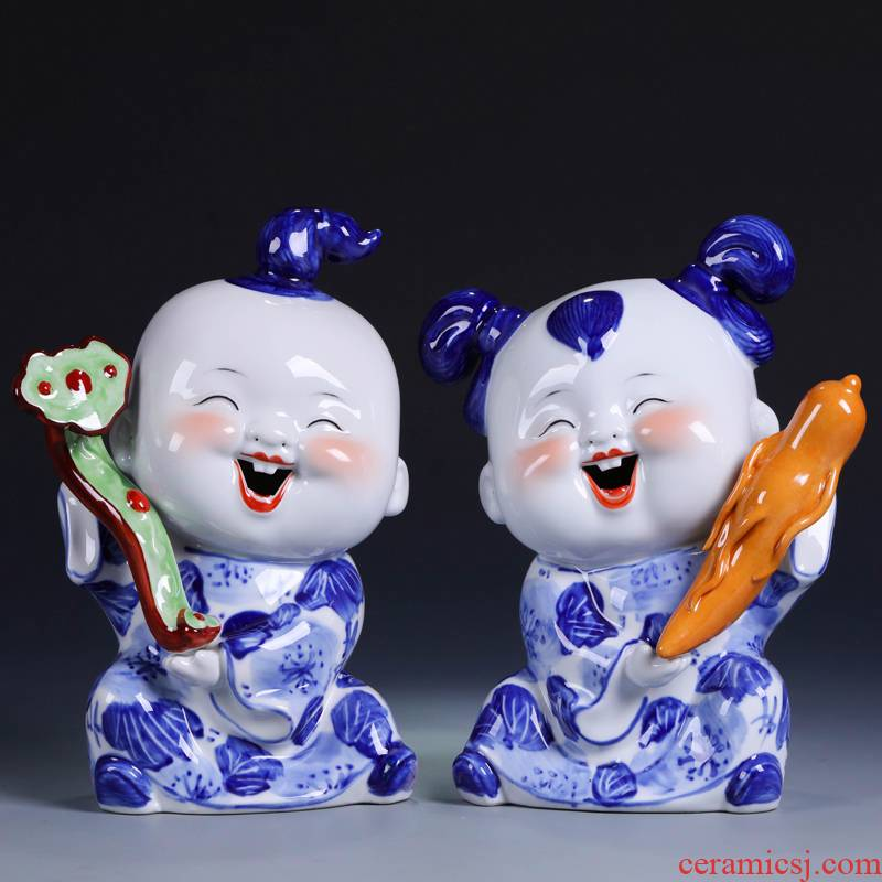 I couples of jingdezhen ceramics handicraft gifts creative decorations furnishing articles home sitting room of Chinese style decoration