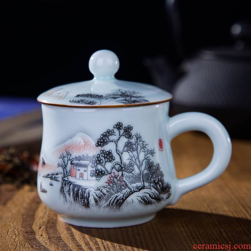 DE farce auspicious new braking the jingdezhen ceramic cups with cover small tea cup of office