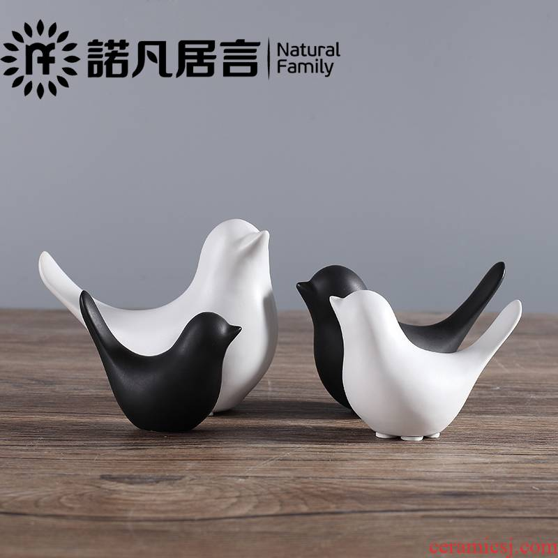 Modern simplicity Nordic express it in black and white ceramic bird creative small place porch soft outfit household ornaments