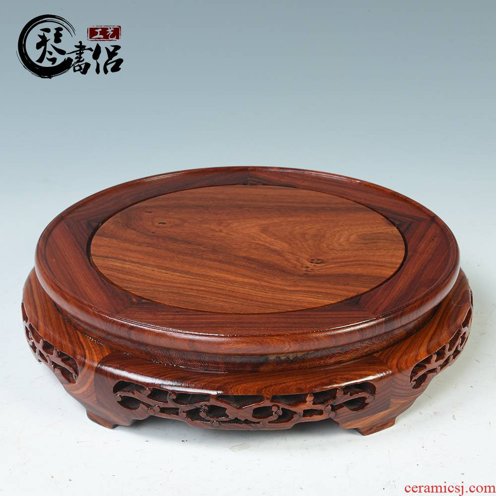 Circular wooden porch porcelain vase base base solid wood antique incense buner base furnishing articles household act the role ofing is tasted