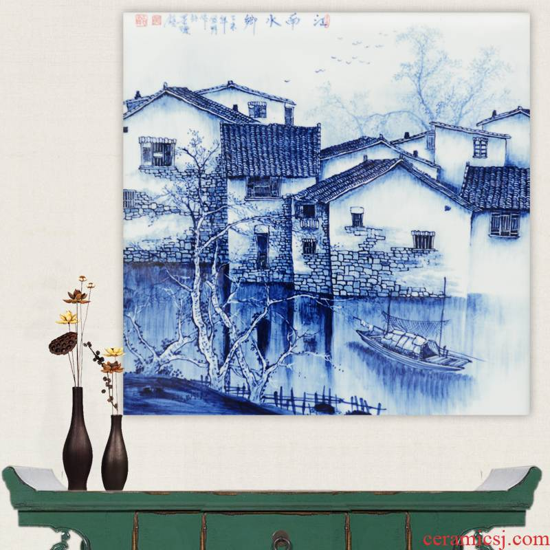 Porcelain of jingdezhen blue and white Porcelain masterpieces by famous writers, hand - made ceramics jiangnan water partition the painter in the sitting room the process