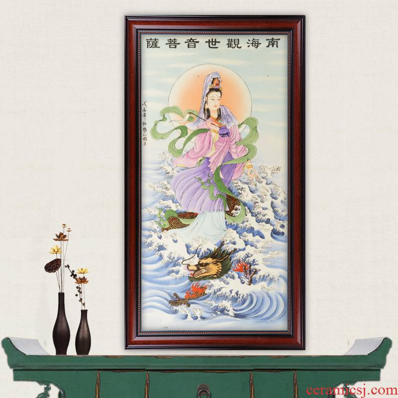 Jingdezhen ceramics masterpieces pastel antique hand - made guanyin crafts porcelain plate painting the mural wall act the role ofing the living room