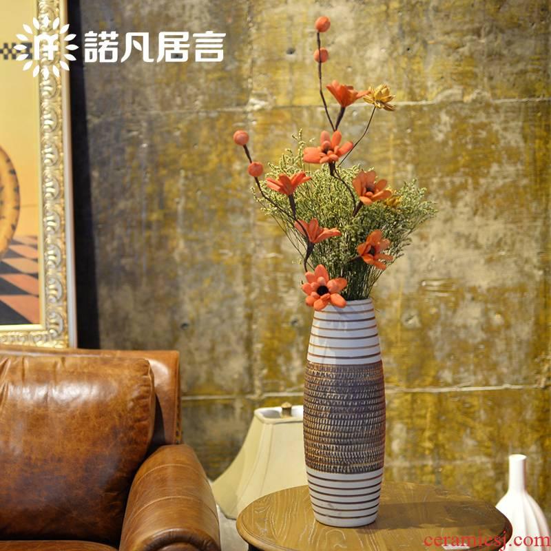 Jingdezhen ceramic vase landing big vases, flower, flower implement sitting room place in modern Chinese flower arranging dried flowers flower arrangement