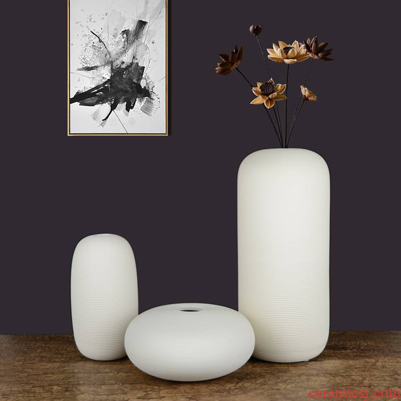 Vase furnishing articles sitting room white biscuit firing ceramics jingdezhen I and contracted fashion home decoration soft adornment