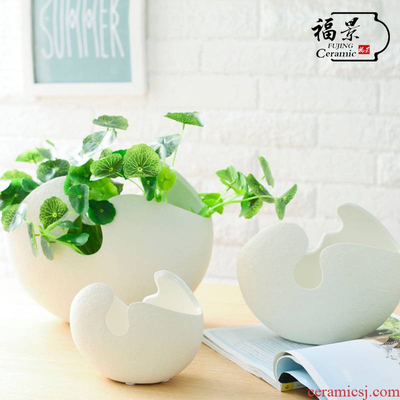Nordic I and contracted creative ceramic flower implement sitting room white ceramic decorative vase copper plant grass simulation