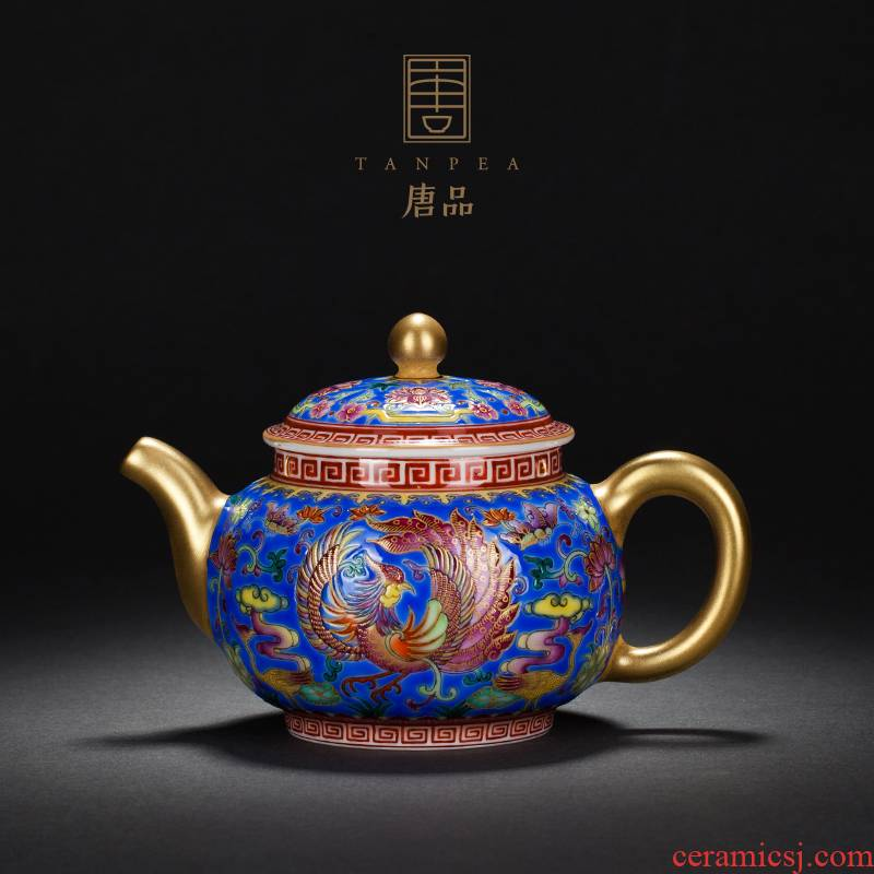 Jingdezhen ceramic all hand made blue colored enamel teapot to group of hand pot archaize single pot chicken large kung fu