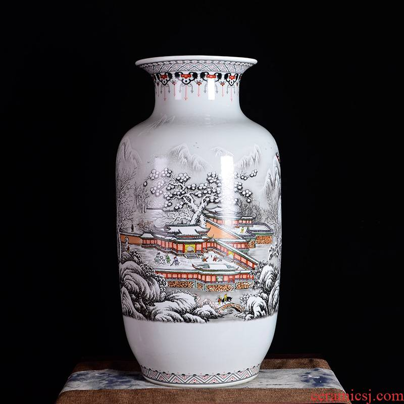 Jingdezhen ceramics snow home furnishing articles of large vase flower arranging the sitting room porch decoration decoration large Z8