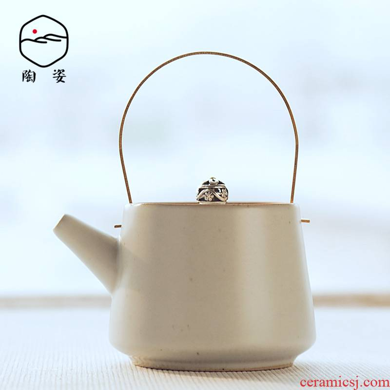 Ceramic teapot TaoZi household kung fu your up copper girder pot of Japanese zen tea restoring ancient ways is I and contracted