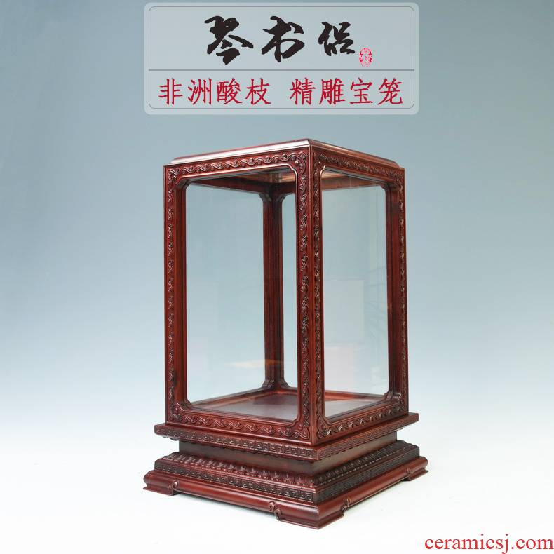 Pianology picking Africa red acid branch treasure cage the glass dust cover the wooden base, transparent display cover figure of Buddha base frame