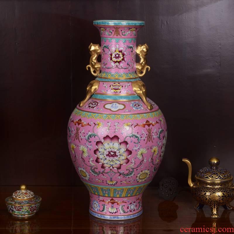 Jingdezhen ceramics high - grade pink elephant archaize qianlong fishtail sitting room place vase home decoration process