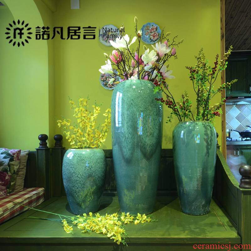 Color glaze up ceramic floor vase vase modern European - style villa hotel sitting room place large vases, flower arrangement