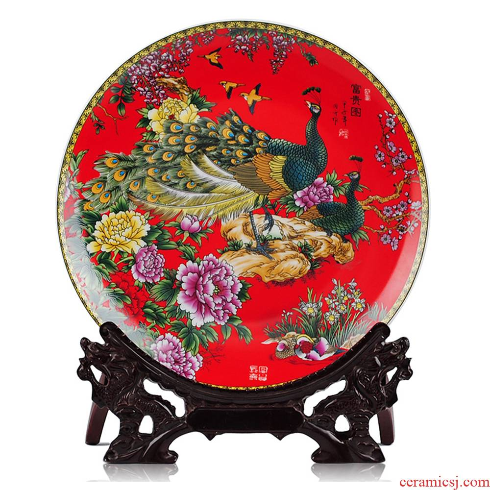 The peacock figure hanging dish decorative porcelain jingdezhen ceramics sit plate wall of sitting room home Chinese handicraft furnishing articles