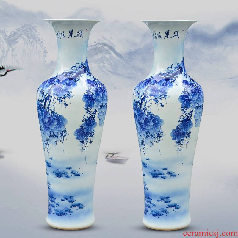 Hand - made fruits of large vase blue and white porcelain of jingdezhen ceramics living room TV ark adornment furnishing articles